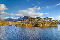 Landscape with lake in Galway county, Ireland