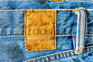Leather jeans label