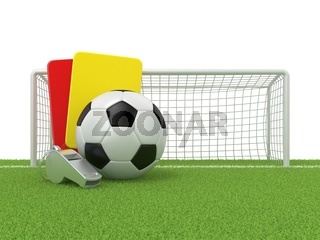 Football concept. Penalty (red and yellow) card, metal whistle and soccer (football) ball and gate, isolated 3D