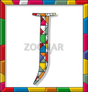 Letter J in stained glass