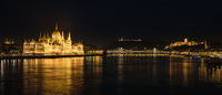 Panorama of Buda Castle, Parliament and the Danube river, Budapest, Hungary