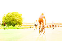 people on bicycle,  walking and running - outdoor sport concept -