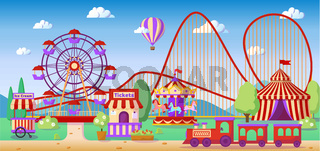 Amusement park panoramic lanscape, roller coaster, carousel, ferris wheel