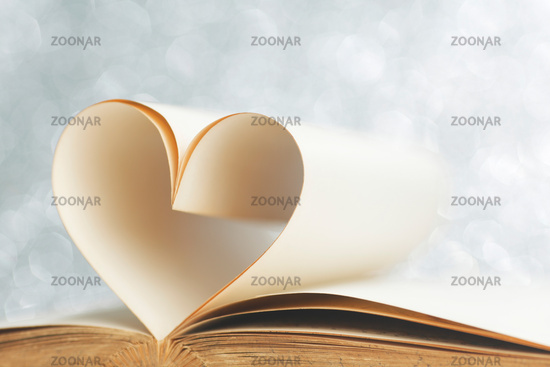 Book with pages shape of heart