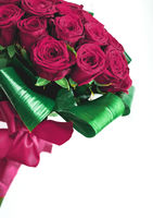 Luxury bouquet of burgundy roses on marble background, beautiful flowers as holiday love present on Valentines Day