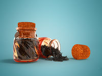 Glass jars with dry black tea for storage from the front from the bottom 3d render on a blue background with shadow