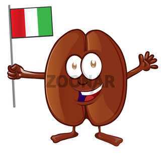 Vector illustration of coffee bean character with italian flag
