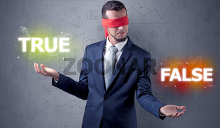 Man with ribbon on his eye making decision