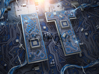 Information Technology IT text in form of computer chips with CPU.