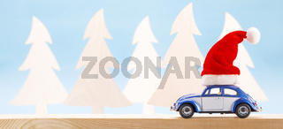 Toy car with Santa hat