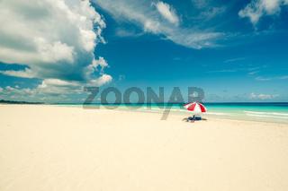red umbrella on the Caribbean beach