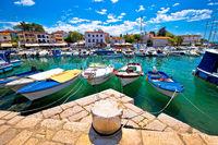 Krk. Town of Malinska harbor and waterfront view