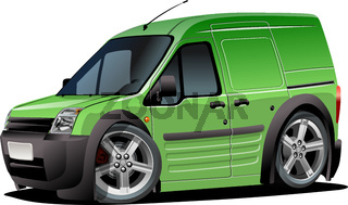 Vector Cartoon delivery van isolated om white background