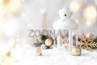White lantern with candle