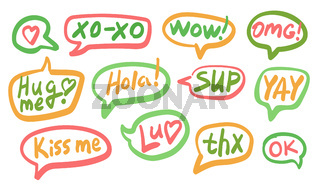 Set of different shape colorful speech bubbles with text isolated for posters design, stickers, vector illustration.