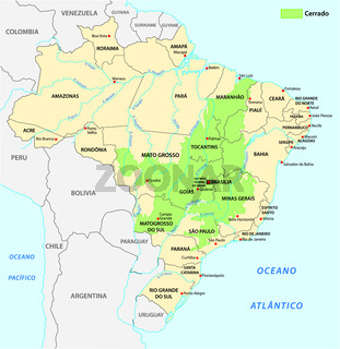 Map of the savanna landscape of Cerrado in Brazil