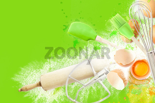 Baking utensils and cooking ingredients for muffins, cookies, dough and pastry. Flat lay with eggs, flour and sugar. Top view