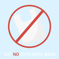 Vector illustration stop plastic bags blue bacground save ecologyno plastic
