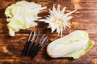 Chinese cabbage carving, top view on the table