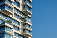 modern building facade and blue sky copy space