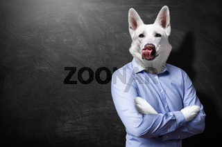 Animalistic hungry dog-man. Business and hunger concept.