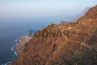 Scenic volcanic coastline landscape, Cliffs in Tamadaba natural park, Grand Canary island, Spain.
