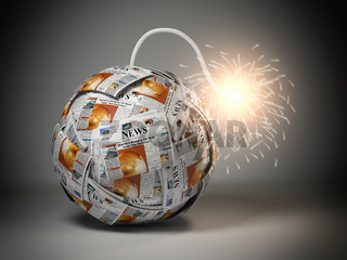 Breaking hot news concept. Bomb from newspapers with wick  and sparks.