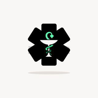 Pharmacy symbol with cross. Icon with shadow on a beige background. Vector illustration