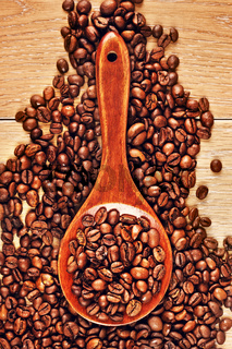 Wooden Spoon With Coffee Beans