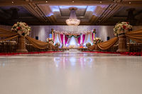 Indian wedding mandap with flowers and decor