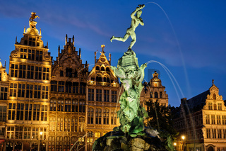 Antwerp Grote Markt with famous Brabo statue and fountain at night, Belgium