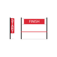 Vector illustratin finish and start flags. Start and the and competitions. Finish and Start banners. Red flags. Flat design. EPS 10.