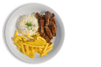 Sliced steak with rice and fries sides