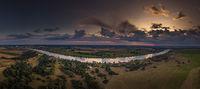 Luftaufnahme / Panorama an der Elbe bei Sonnenuntergang