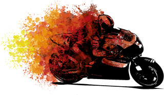 Artistic stylized motorcycle racer in motion.  illustration