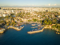 Aerial Kaleici Harbor Mountains Cityscape Antalya