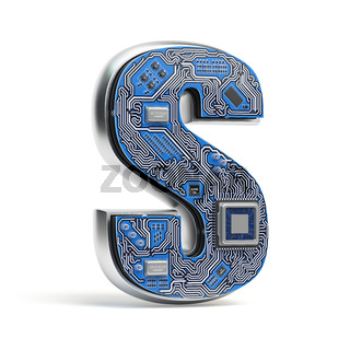 Letter S.  Alphabet in circuit board style. Digital hi-tech letter isolated on white.