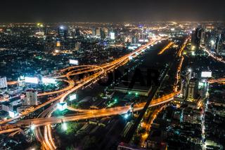 High view night scene of Bangkok, Thailand