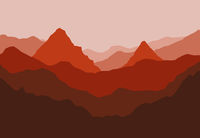 Digital illustration of mountains and trees red