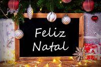 Chalkboard, Tree, Gift, Fairy Lights, Feliz Natal Means Merry Christmas