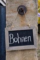 Schild Bohnen