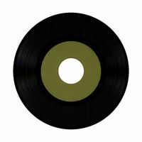 vinyl record with blank green label isolated over white