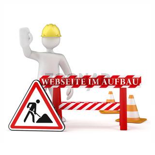 Webseite Im Aufbau Manikin Roadworks Sign