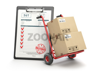 Delivery service concept. Hand truck with parcel carton cardboard boxes and  clipboard with receipt form isolated on white.