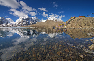 SIKKIM, INDIA, May 2014, People at Gurudongmar lake, one of the highest lakes in the world at an altitude of 17,800 ft
