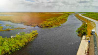 Aerial view of the Everglades National Park, Florida, United States. Swamp and wetlands on a beautiful day