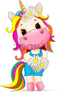 Cute unicorn baby with a bouquet of flowers