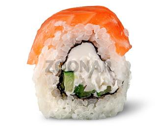 Single piece of sushi roll of Philadelphia