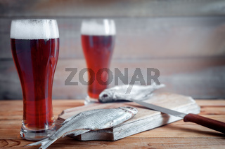 Dried roach and beer in large glasses