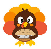 Cartoon Thanksgiving Turkey Brings a Pie to Dinner